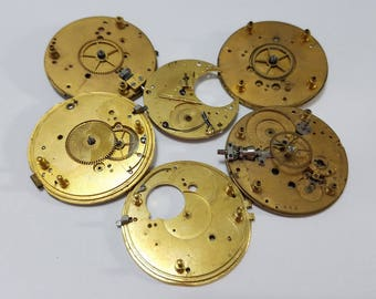 Vintage, Pocket Watch, Lot, Elgin, Movement, Gilt, Steampunk, Altered Art, Assemblage, Jewelry, Beading, Supply, Supplies