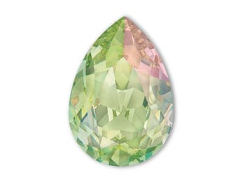 4320 LUMINUOUS GREEN 14x10mm Swarovski Crystal Pear Teardrops 2 pieces