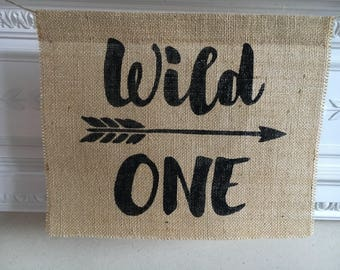 WILD ONE burlap hessian high chair, mantle or wall sign. Banner garland bunting.