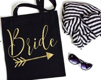 Bride Tribe Canvas Tote, Bachelorette Party Tote, Bachelorette Party Favor, Bachelorette Party Gift, Gift Bag, Tote Bag, Canvas, Gold