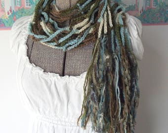 Crochet Skinny Scarf Long Wrap Shawl Airy Boho Olive Green Aqua Cream Coachella Brown Year Round Wear