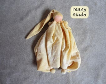 Waldorf cuddle doll for children, ready made, handmade. Waldorf doll 'Tuutuu'. Color: flamed yellow. Ready to ship. KT09