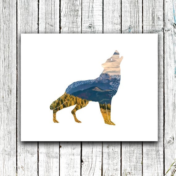 Nursery Printable, Wolf, Outdoors, Adventure, Wildlife, Digital Download Multiple Sizes #650