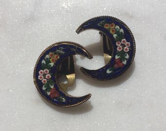 Vintage Italian Micro Mosaic Cresent Clip On Earrings