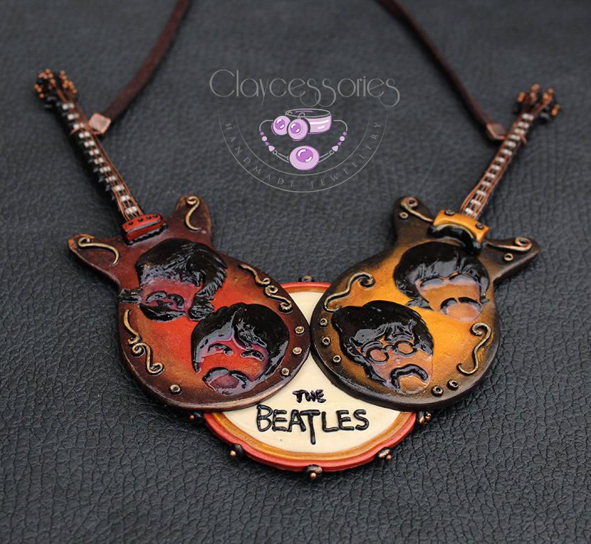 Beatles necklace / Beatles jewellery / The Beatles /Music necklace / Statement necklace /Guitar necklace / Beatles art/Polymer clay necklace