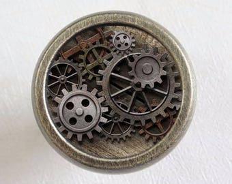 Marvelous Steampunk Gear   Vintage Cabinet Knob Drawer Knobs Pulls Antique Bronze  Silver Glass Dresser Knob Pull