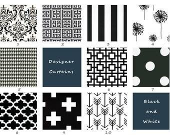 Black, White, Curtains, Living Room, Bedroom, Kitchen, Window Treatment, Panels, Window, Damask, Drapes, Decor, Striped, Houndstouth