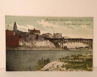 ON SALE St Paul Minnesota MN Harriet Island Early 1900's Vintage Old Antique Postcard