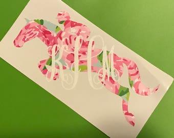 Lilly Pulitzer Inspired Jumping Horse Vine Monogram Vinyl Decal