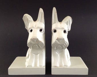 Two Vintage Hand Carved Bookends in the Shape of Scottsh Terriers