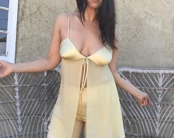 1990s Mellow Yellow Baby Doll Teddy Top