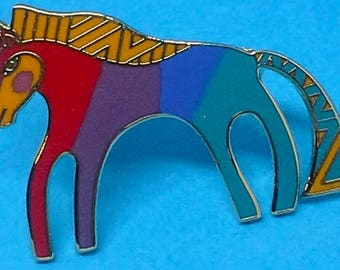 "Laurel Burch Vintage""Caballo"" Horse Pin/brooch, enamel, 22K GF 1980s"