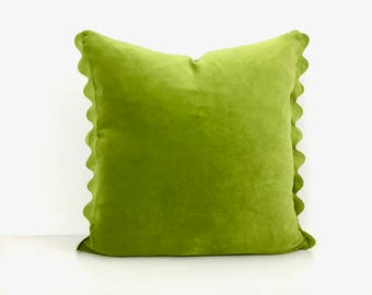 Green Velvet Pillow Cover with Ric Rac Trim