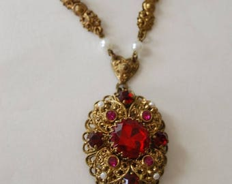 "SALE Antique Red Pink Rhinestone Filigree Brass German Pendant Necklace Heart  Faux Pearl Accent  20"" Valentines Day Gift"