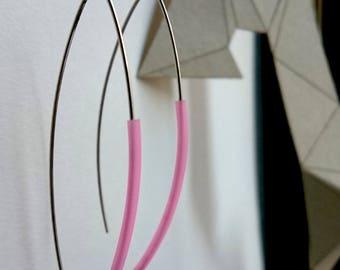 Pink inimalist sterling silver earrings