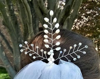 Pearl and Crystal Hair Pin, Bridal Hair Pin, Bridesmaid Hair Pin, Hair Jewelry, Statement Hair Pin, Flower Girl Hair Pin, Prom Hair Pin