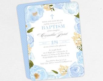 Baptism Invitation, Christening Invitation, Girl Baptism, Printable Baptism Invitation, PDF, Floral, Watercolor Flower, Cross, Blue, Camilla