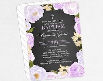 Baptism Invitation, Christening Invitation, Girl Baptism, Printable Baptism Invite, Floral, Watercolor Flower, Chalkboard, Purple, Camilla