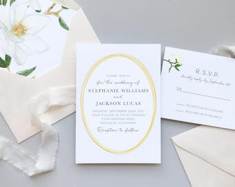 Magnolia Floral Wedding Invitation Suite Sample / #1115