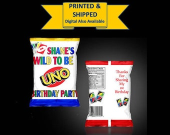 PRINTED  Uno First Birthday Themed Chip Bag Treat Bag  - YOU ASSEMBLE(Read before ordering)