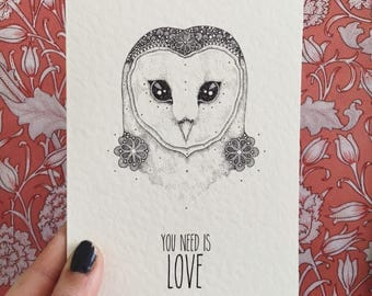 Owl you need is love - little dot creations - greeting card