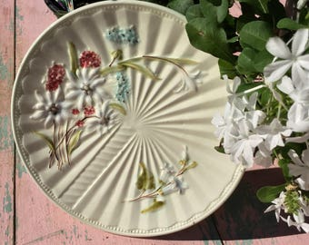 Gorgeous floral majolica plate!