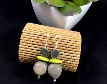 Ethnic earrings with exotic seeds and tagua