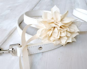 White Leather Wedding Dog Leash Ivory Flowers Bloom and Lace White Pet Leash Flower Dog Wedding Outfit