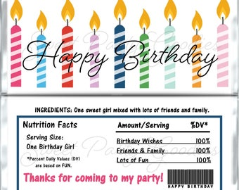 Happy Birthday Candles Chocolate Bar Wrappers - Birthday Candles Candy Bar Wrap - Custom Wrappers - Candy Wrappers Party Favors