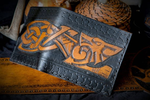 Viking Leather Wallet - Wolf Bifold Wallet - Fenrir Freki Geri