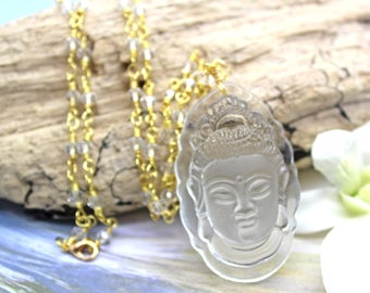 Quartz Crystal Kwan Yin Necklace, Quartz Rosary Chain, Kwan Yin Necklace, Yoga Jewelry, Yoga Gift
