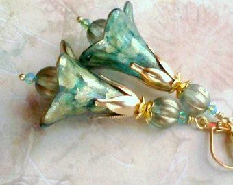 Hand Painted Earrings, Teal Earrings, Aqua Earrings, Flower Earrings, Teal Earrings, Handmade Earrings, Blue Green Dangles, Floral #3