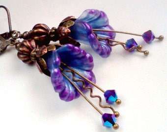 Hand Painted, Painted Flowers, Flower Earrings, Blue and Purple, Blue Flower Dangles,  Bridal Earrings, Vintage, Purple and Blue, Boho, #10
