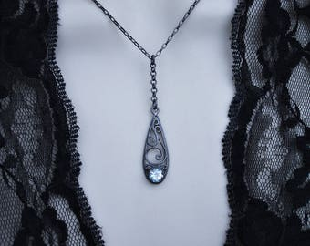Blue topaz necklace, blue topaz necklaces, gift for her, gift ideas, topaz jewelry, blue necklace, blue y necklace, filigree topaz pendant