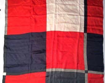 Vintage 1980s Marja Kurki Finland Huge Geometric Red Grey Black Scarf