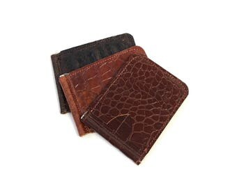 Slim & Simple money clip wallet in bourbon brown