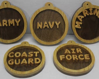 Army, Navy, Air Force, Marines, Coast Guard scroll saw cut ornaments