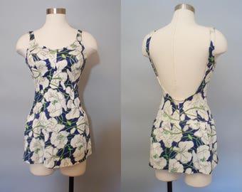 1970s Jantzen Bathing Suit / Vintage Blue White Orchid Print Swimsuit