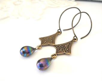 Little Victorian Earrings, Iridescent Blue Teardrop Earrings, Art Deco Style Jewelry, Antiqued Brass Earrings, Gift for Her