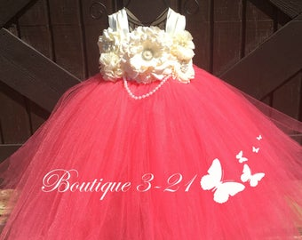 Coral Flower Girl Dress, Coral Tutu Dress, Coral Tulle Dress, Coral Dress, Coral Wedding, Coral