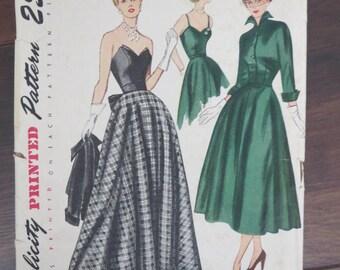 Vintage 1949 Simplicity 3047 Junior Misses Evening Dress size 12 sewing pattern