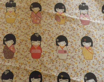 """fabric """"Japanese Doll"""" on a beige background"""