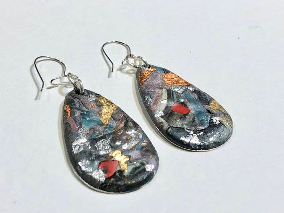 Earrings - multi color contemporary handmade polymer clay on drop shaped piece with 14 k gold plated ear wire