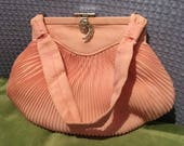 Vintage 1950s Pink Pleated Chiffon Evening Purse with Decorative Diamanté Clasp and Original Makeup Mirror.