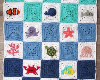 Crochet Pattern Tutorial - Ocean Granny Square Afghan Blanket - PDF download