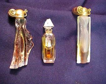 Three Mini Vintage Givenchy Splash Perfume/Parfum  Bottles  2 Organza & 1 Ysatis   50's  and  90's