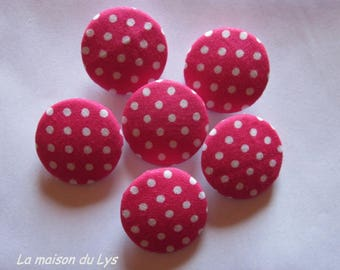 6 fabric buttons Fuchsia polka dots 28mm