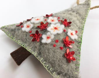 grey, red and white wool felt Christmas Tree ornament with sparkly sequins and hand embroidery