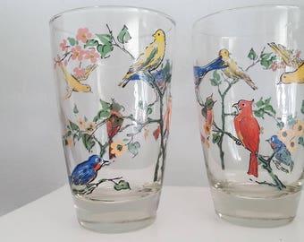 Vintage Bird Juice Small Drinking Glasses - set of 2