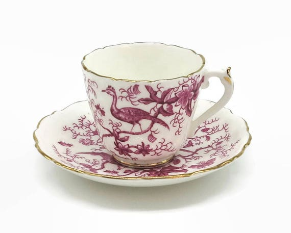 Vintage demitasse cup and saucer, Coalport, pink and white Cairo pattern with birds, flowers, insects, gilt trim, 1970 - 74,